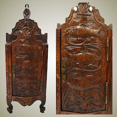 """Charming Antique French Carved Solid Oak 16.5"""" Salt Cabinet, Fish Figures, Copy of 1700s Piece"""