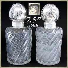 PAIR Antique French Sterling Silver & Baccarat Swirled Glass or Crystal Inkwells, Rococo Style