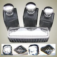 """Antique French Sterling Silver & Cut Glass 4pc Vanity Set, 3 Lg Decanters & 8.5"""" Box"""