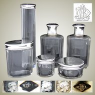 Antique French Sterling Silver & Cut Glass 6pc Vanity Set, Jars & Perfume or Cologne Bottles