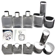 Fine antique to vintage French Sterling Silver & Cut Glass 6pc Vanity Set, Jars & Perfume or Cologne Bottles