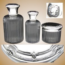 Antique French Sterling Silver & Cut Glass 3pc Vanity Set, 2 Colognes or Perfumes & Jar
