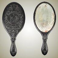RARE Victorian Gutta Percha Vanity Mirror, Figural