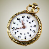 Antique 18K Gold Pendant Pocket Watch, Enamel Face, Swiss