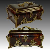 Antique French Faux Tortoise Shell & Ormolu Jewelry Casket, HUGE size - Faux Tortoiseshell