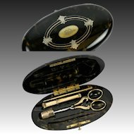 Antique 18K Gold Sewing Tools, French Faux Tortoise Shell Necessaire, Tortoiseshell Etui