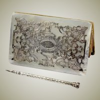 Antique Victorian French Mother of Pearl and Sterling Silver Card Case, Necessaire and Stylus, Pencil
