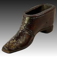 Georgian Antique Carved Shoe or Boot Snuff Box, French Pique