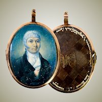 Antique Georgian 12k Gold Locket Frame, Portrait Miniature w Seed Pearls, Hair, Brooch or Pendant