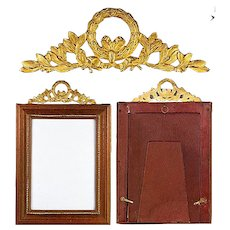 Antique French Frame, Wood and Dore Bronze, Empire