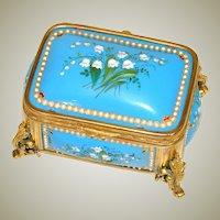 """Antique French Kiln-Fired Enamel 4"""" Jewelry Casket, Bell FLowers, 'Jewels' & Gilt Ormolu"""