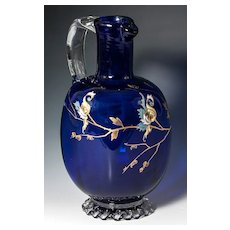 Elegant Antique French Decanter, HM Cobalt Blue Glass Carafe with Enamel, Napoleon III
