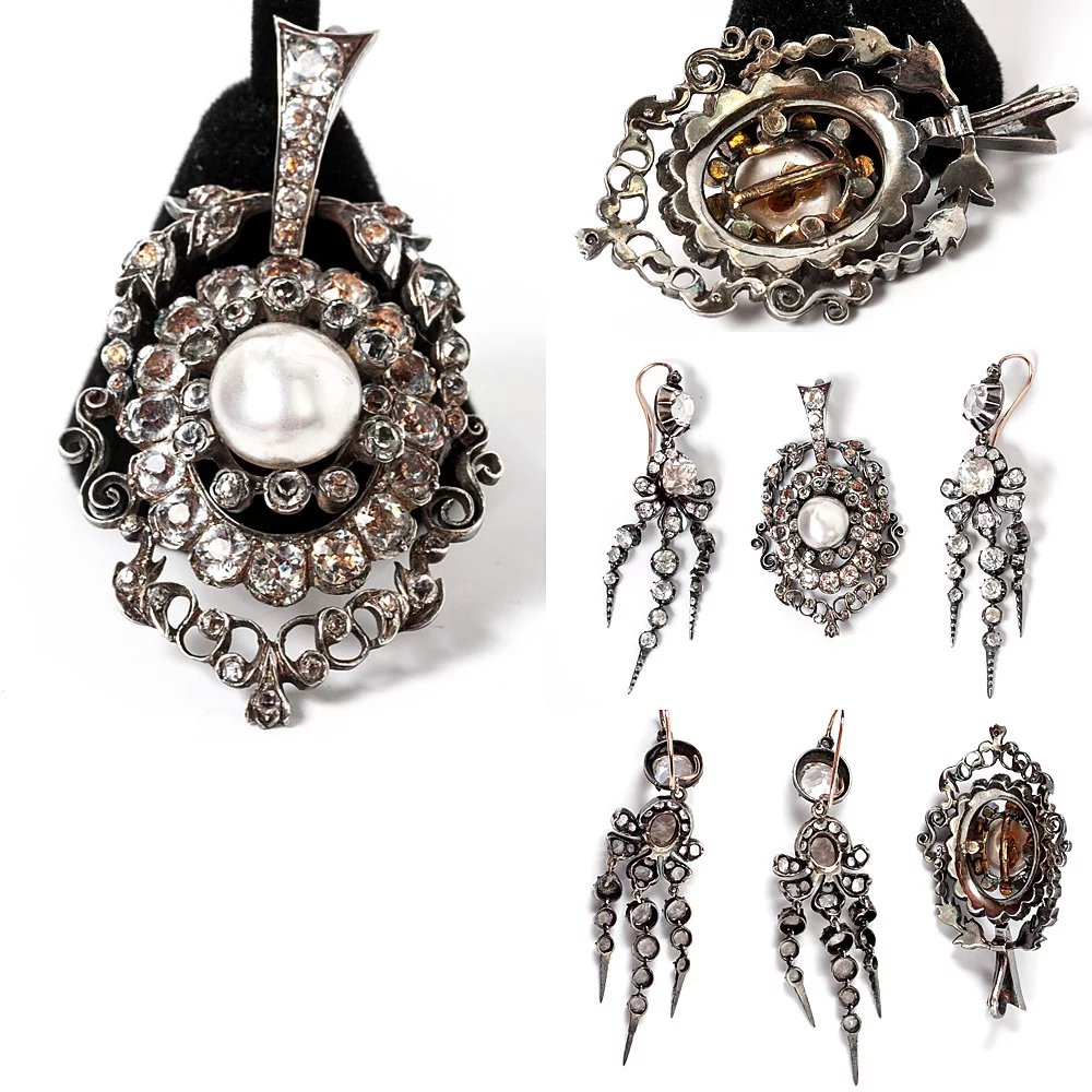Antique French Jewelry Parure Of Pendant Earrings French
