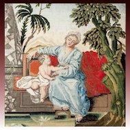 RARE c. 1600s-1700s Fine NeedlePoint Tapestry, Mother & Putti, NeedleWork