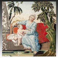 RARE c. 1600s-1700s Fine NeedlePoint Tapestry, Mother & Putti, NeedleWork