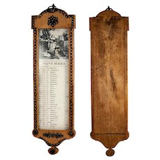 Antique Napoleonic Era Wall Mount Calendar, Cut Steel Pique on Lemon Wood, French Empire