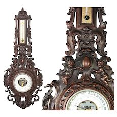RARE Antique French Gutta Percha Frame Barometer, Thermometer