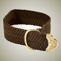 Antique French 18k Yellow Gold Clasp & Woven Hair Art Bracelet, c. 1840-60, Mourning