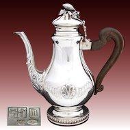 "HUGE Vintage Italian Sterling Silver 11"" Coffee or Tea Pot, Seashell Medallions"