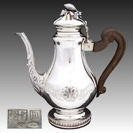 "HUGE Vintage Italian Sterling Silver 11"" Coffee or Tea Pot, Seashell Medallions"