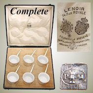 Antique French Palais Royal Marked 6pc SP & Porcelain Ramekin Set, Original Box