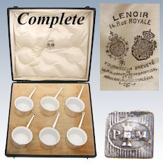 Antique French Palais Royal Marked 6pc SP & Porcelain Ramekin Set, Original Box