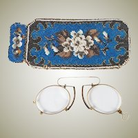 Antique 18k Gold, French Pince Nez Spectacles in Fine Condition, Hallmarks, Beadwork Case