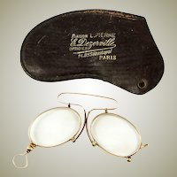 Antique 18k Gold, French Pince Nez Spectacles in Fine Condition, Hallmarks  with Case