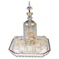 Superb Antique French Cabaret, Liqueur Set by Saint Louis Crystal, Raised Gold Enamel