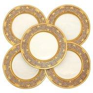 Set of 5 Stunning Lenox Raised Gold Enamel & Cobalt Dinner Plates