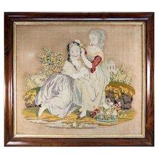 "Charming Large Georgian to Victorian Era Needlepoint, Needlework Canvas in Frame, 2 Girls, 29.75"" x 25.75"" Frame"