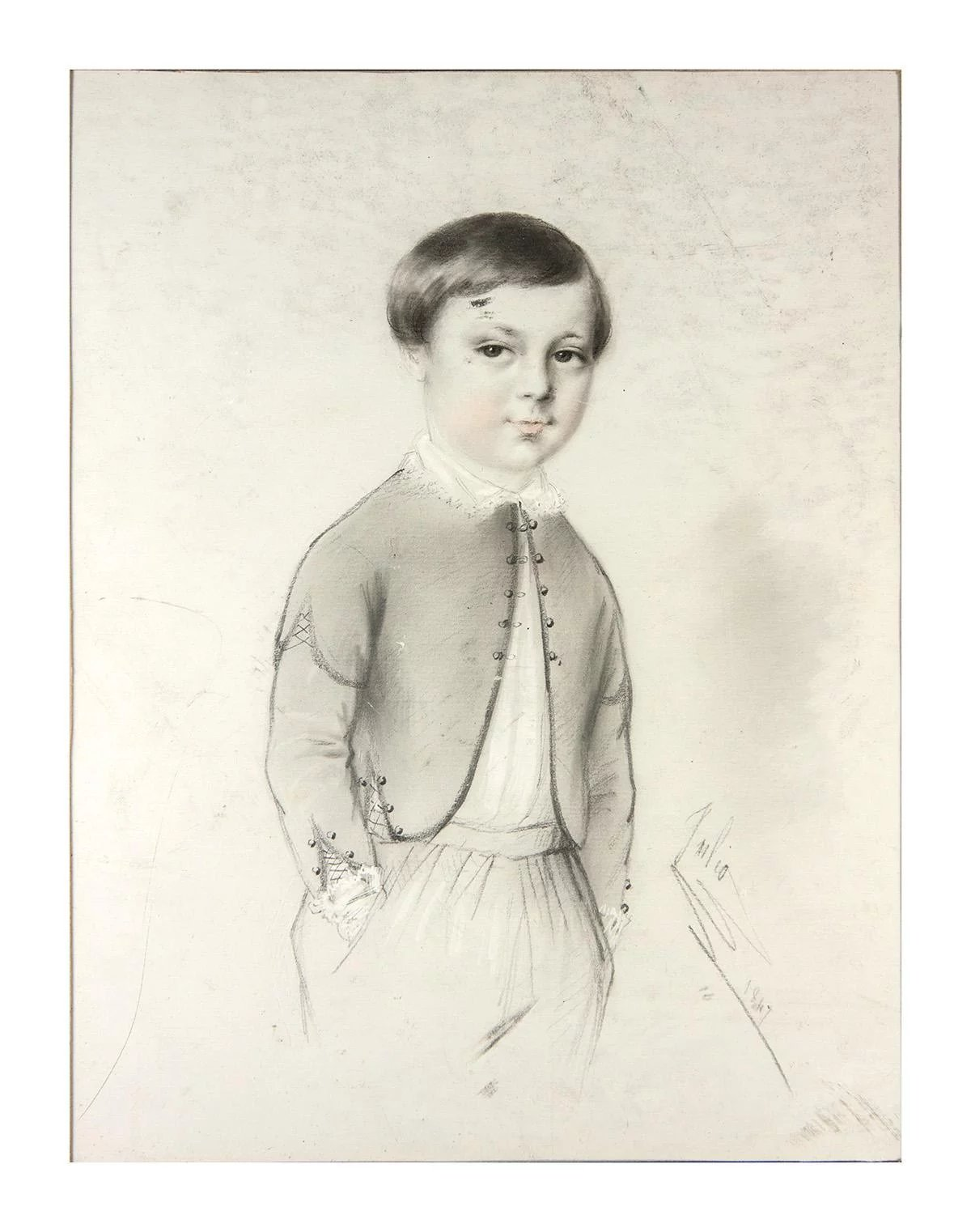Exceptional antique pencil drawing portrait of a boy in 14 x 11 frame signed 1847