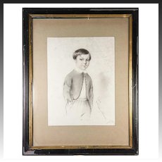 """Exceptional Antique Pencil Drawing, Portrait of a Boy, in 14"""" x 11"""" Frame, Signed, 1847"""