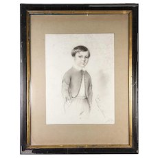 "Exceptional Antique Pencil Drawing, Portrait of a Boy, in 14"" x 11"" Frame, Signed, 1847"