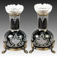 Antique Pair (2) French Kiln-fired Enamel Vase with Blown Crystal Inserts, Lion's Head Cabriole Legs