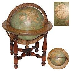 "Fab Vintage W & AK Johnston, Edinburgh, 15"" Tall Terrestrial Globe, Turned Wood Stand"