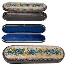Antique Victorian French Beadwork, Beaded Spectacles Case, Leather for 18k Specs