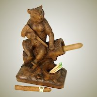 "Superb 9"" Tall Antique Black Forest Bear, Match and Spill or Cigar Holder, Inkwell ?  c. 1860-1900"