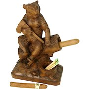 """Superb 9"""" Tall Antique Black Forest Bear, Match and Spill or Cigar Holder, Inkwell ?  c. 1860-1900"""