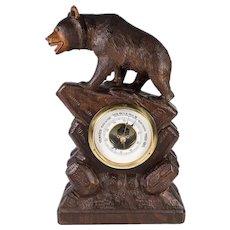 """Antique to Vintage Hand Carved Black Forest Bear, 12"""" Barometer Stand for Tabletop"""