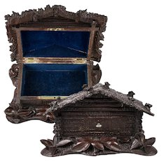 Charming Antique Hand Carved Black Forest (Swiss) Chalet Jewelry Chest, Box, Coffret, Lock & Key