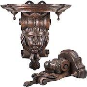 "Antique French Carved or Black Forest Figural Carved Wood Wall, Clock, Bracket Shelf, 11"" x 10.5"", 5.5"" Deep"