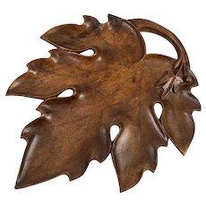 """Antique HC Wood Black Forest Serving Tray, 11"""" x 9"""" Carved Leaf"""