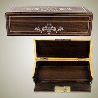 "Antique French Gloves Box, Casket ""Gants"", Napoleon III Era, Lock with Original Key"