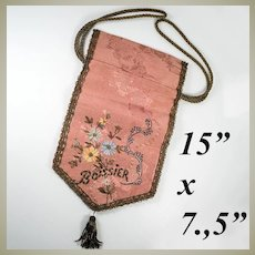 Superb French Antique Silk and Metal Embroidered Chocolates Presentation Bag, Pouch, Boissier, Paris
