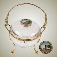 """Antique French Eglomise Souvenir Bonbon, Casket, 4.5"""" Diameter, 8"""" Tall w Ormolu Handle - Chatelet, Paris"""