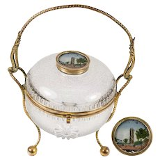 "Antique French Eglomise Souvenir Bonbon, Casket, 4.5"" Diameter, 8"" Tall w Ormolu Handle - Chatelet, Paris"