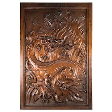 """Spectacular Antique French Hand Carved Chimera, Griffen, Griffon, 22"""" x 15"""" Panel Plaque"""