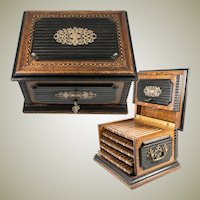 Rare Antique French c.1850s Cigar Caddy, Cabinet with 5 Trays, not Humidifier. Lock w Key