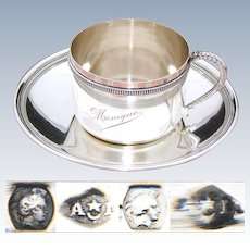 """Lovely Antique French .800 (nearly sterling) Silver Tea Cup & Saucer, Large """"Monique"""" Inscription"""